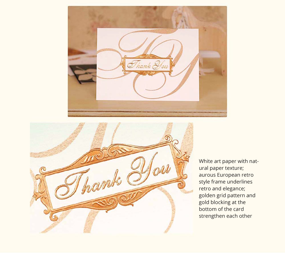 Thank-you Card for Business Purpose Birthday Card Christmas Card Retro Style New Year Card High Art Gold Blocking Thank-you Card 8