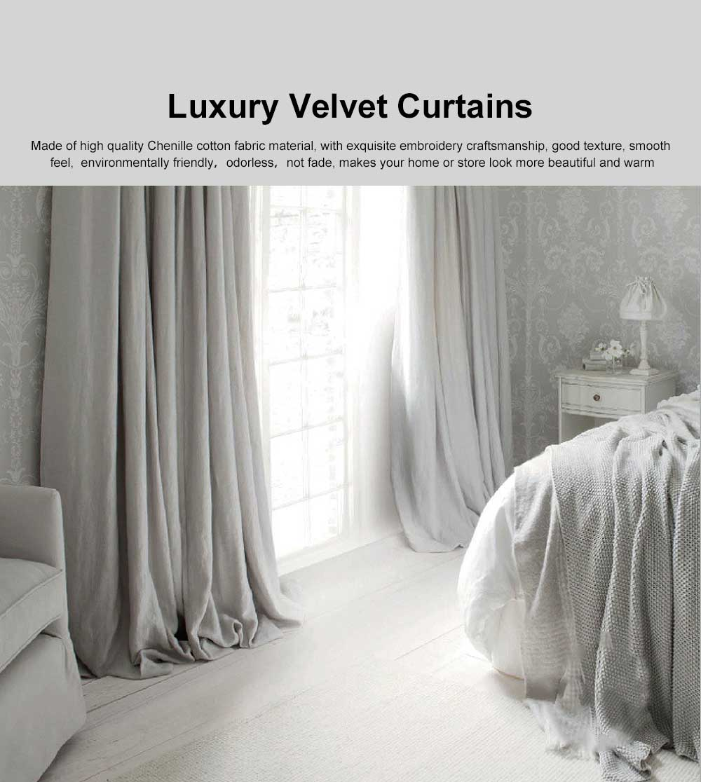 Modern Retro American Style Grey Curtains, Blackout Curtains for Bedroom Living Room, Light Luxury Velvet Curtains 0