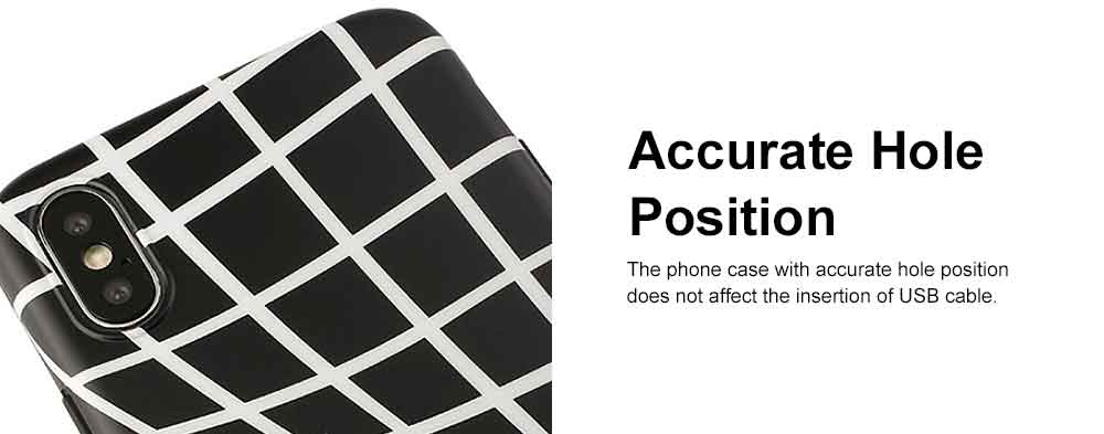 Creative Lines Mobile Phone Case, Grid Sanded Case Cover for iPhone, Luxury Soft Thin TPU Case, Minimalist Style 4