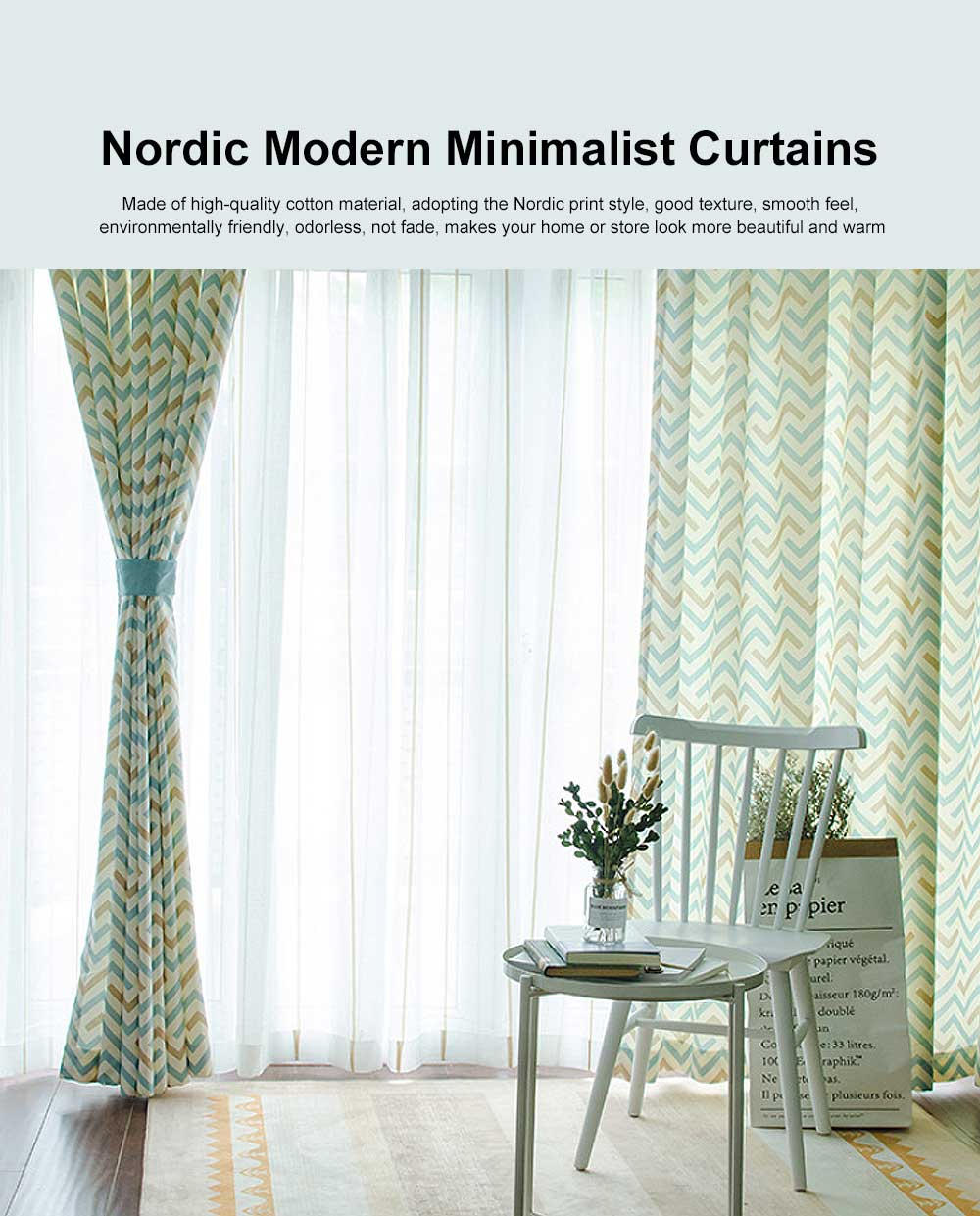 Nordic Modern Minimalist Curtains, Blackout Curtain for Living Room, Bedroom, High -quality Cotton Blackout Curtain 0