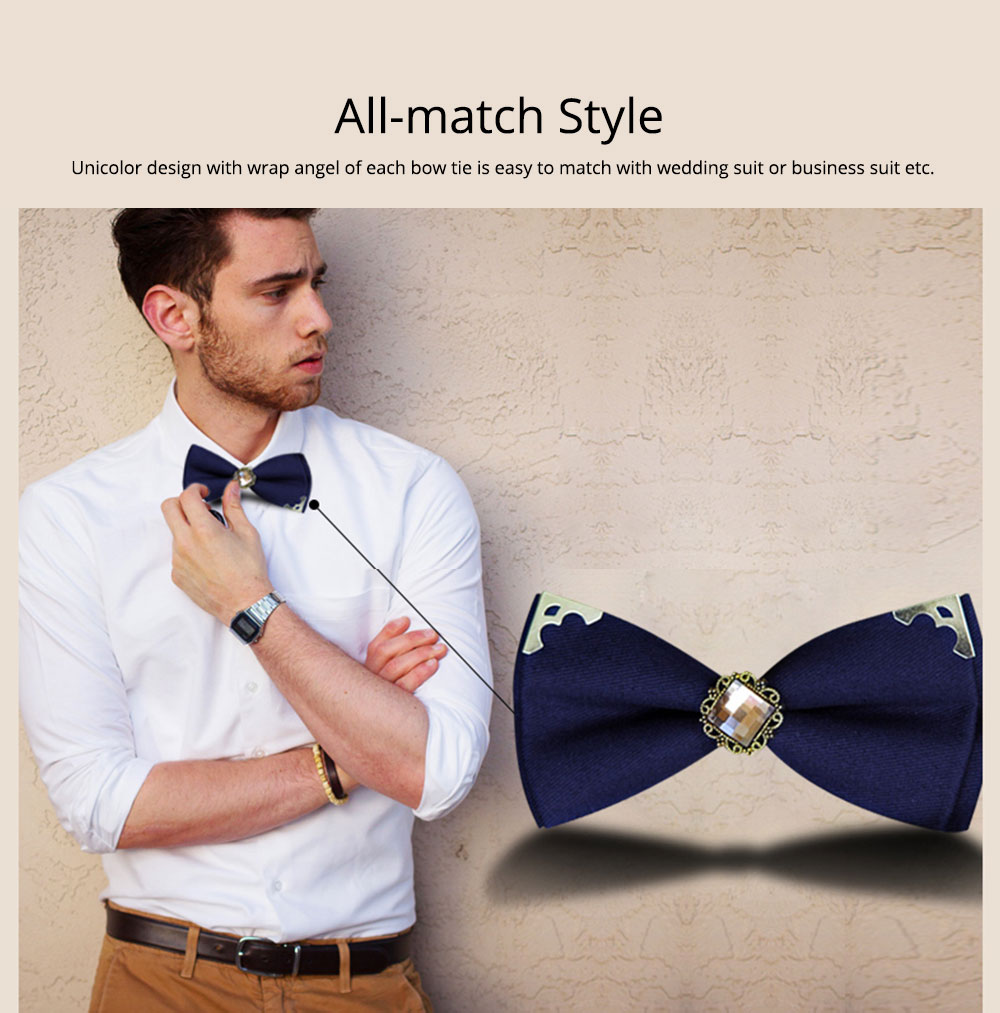 Korean Style Bow Tie for Male Fashionable Man-used Wrap Angle Bow Tie for Bridegroom Groomsman Classic Gem Bow Tie 2