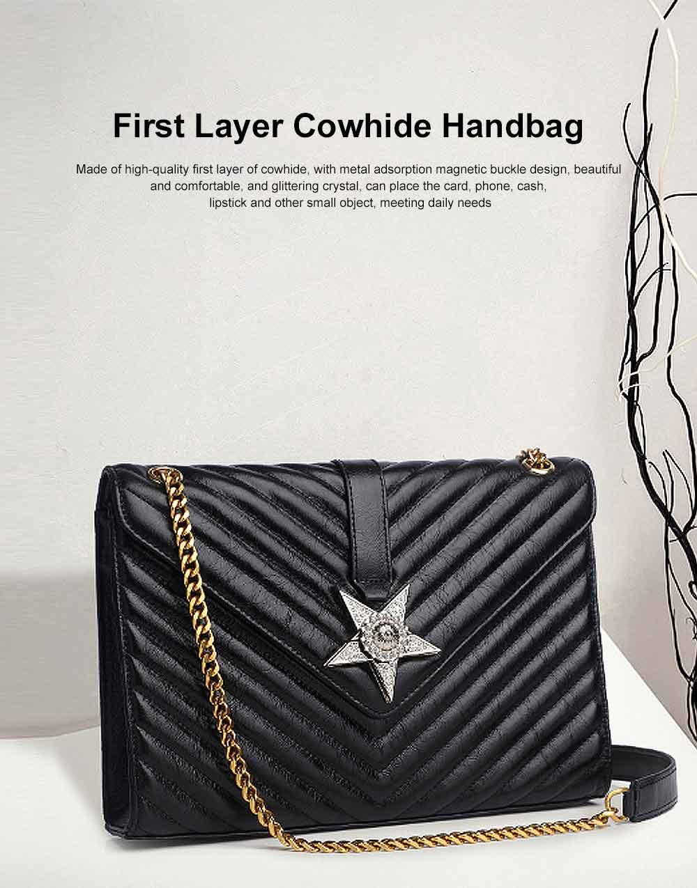 First Layer Cowhide Handbag, New Fashion Star Shoulder Diagonal Bag, with Metal Magnetic Buckle Design 0