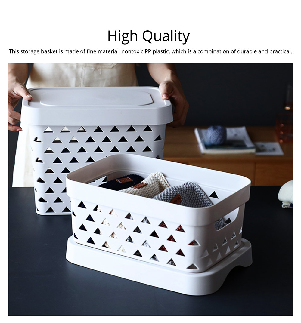 Nontoxic and Durable PP Plastic Storage Basket Multifunctional Hollowed-out Nordic Large Table Organizer With Top for Sundries, stationery and Clothes 1