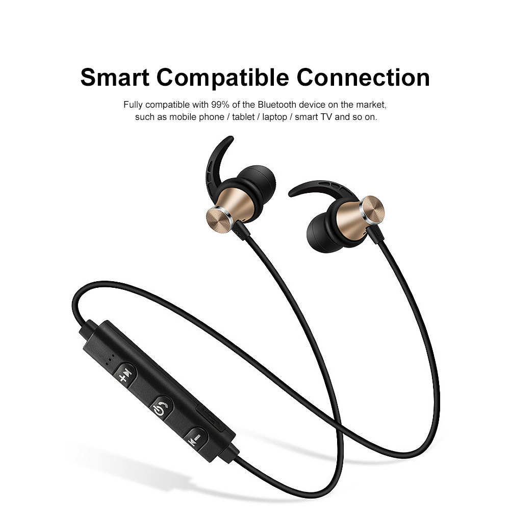 Professional Sharp Fin Wireless Ver 4.1 Bluetooth Earphone Headphones In-ear Neckband Headset Sports Supplies For iPhone Samsung 6