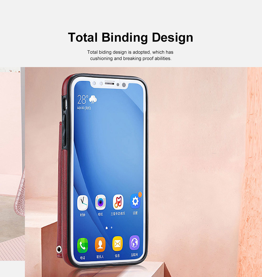 Stylish Leather Phone Case with Card Bag, Wallet, Case Cover Can be Insert Cards, Multifunctional Phone Case for iPhone, Samsung 2