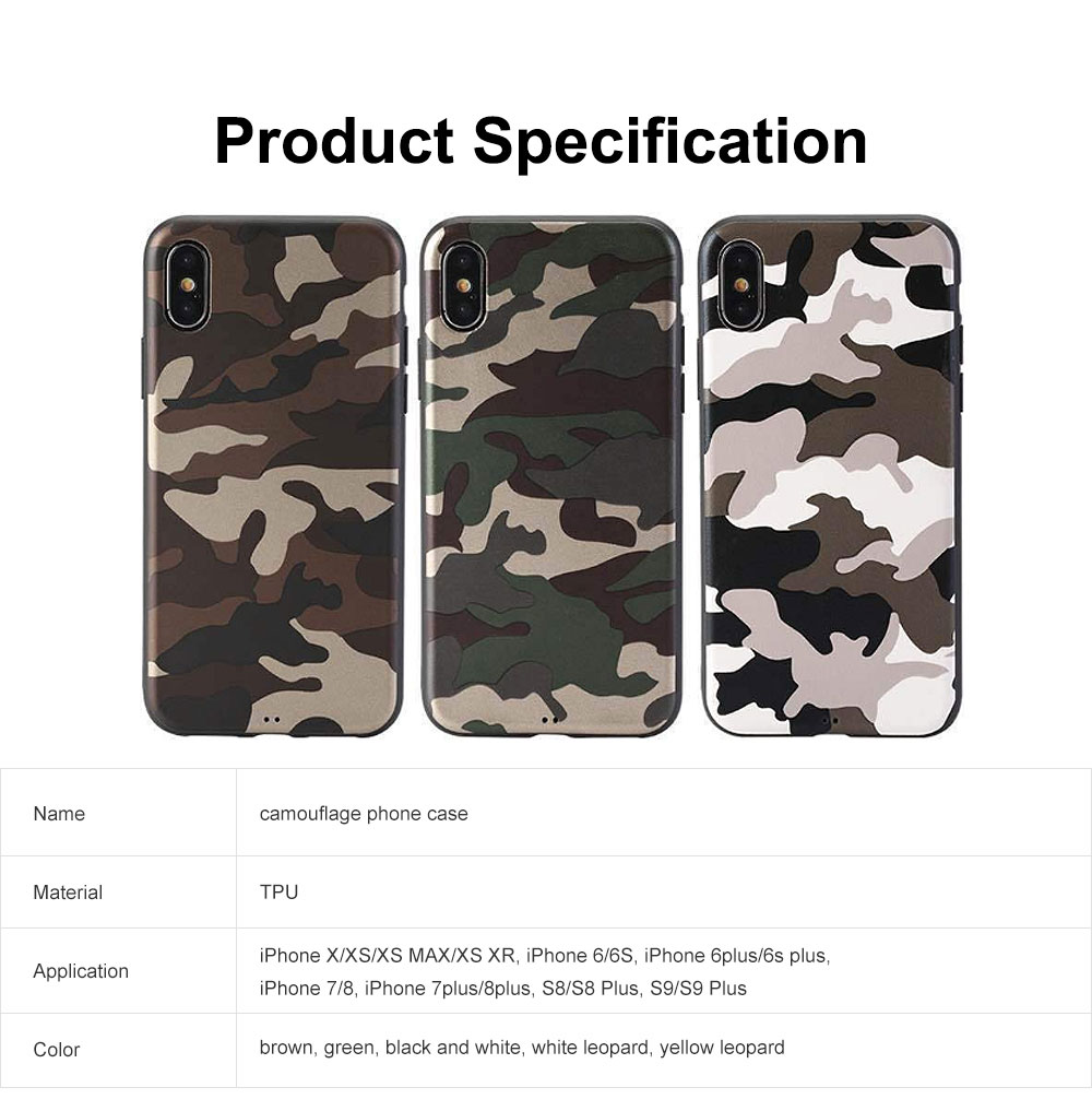 Camouflage Phone Case, Leopard Print Case Cover, Smooth TPU Phone Case, Luxury Ultra Thin Case Cover for iPhone 6