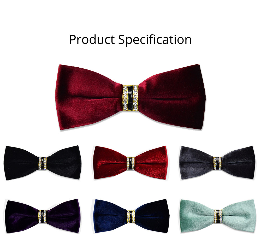 Velvet Diamante Bow Tie for Bridegroom Wedding Business Suit Bow Tie Fashionable Elviro Tie Groomsman Used Brand Diamante Tie 6