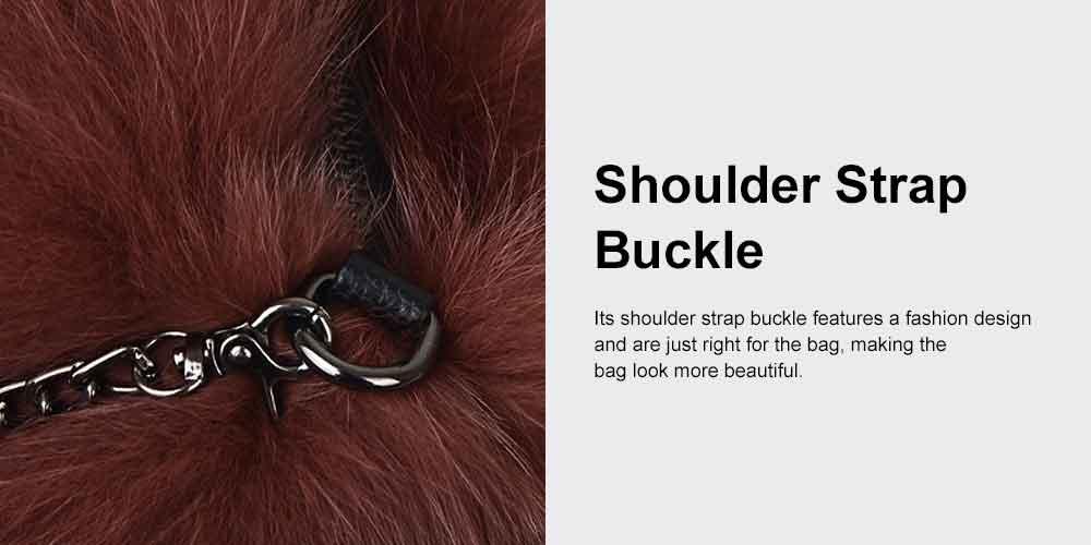 Selected Fox Fur Ladies Shoulder Bag, Beautiful Diagonal Crossing Bag, with Shoulder Strap Buckle 5