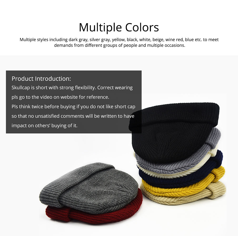 Stylish Winter Skullcap for Male Use of Korean Style Design Knitted Woolen Yarn Hat Fashionable Hip-hop Hat 2