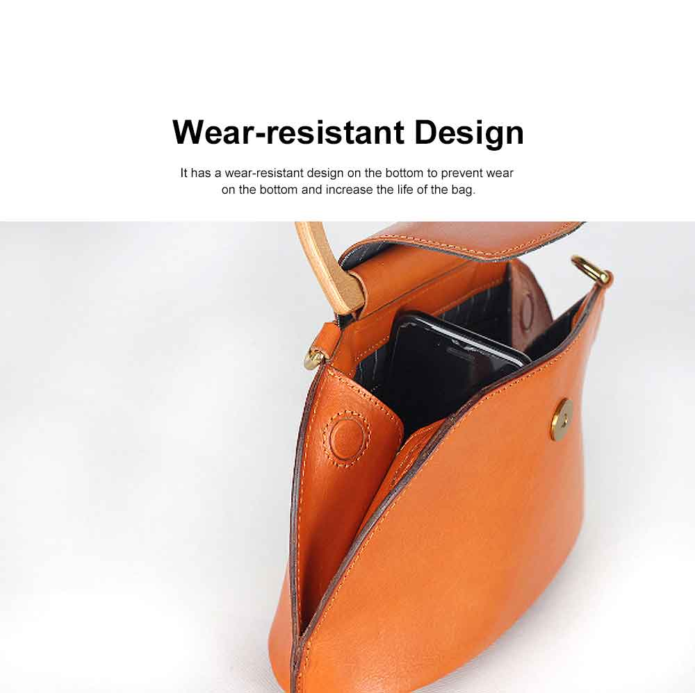 Leather Crossbody Bag, One-shoulder Retro Ladies Bag, with Metal Magnet Buttons with Single Shoulder Rope Handle Design 5