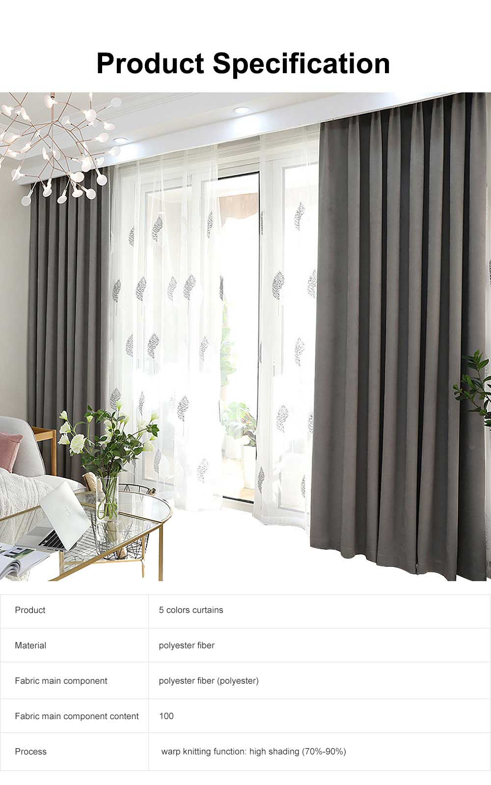 5 Color Nordic Style Curtain, Solid Color Curtains for Living Room Bedroom, Modern Minimalist Blackout Curtain 6