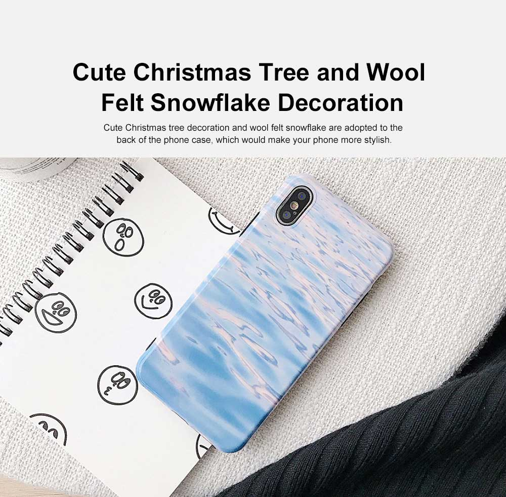 Creative Christmas Tree Phone Case, Wool Felt Snowflake Case Cover, Stylish Christmas Present, Linen Grain Flannelette Phone Case for iPhone 2