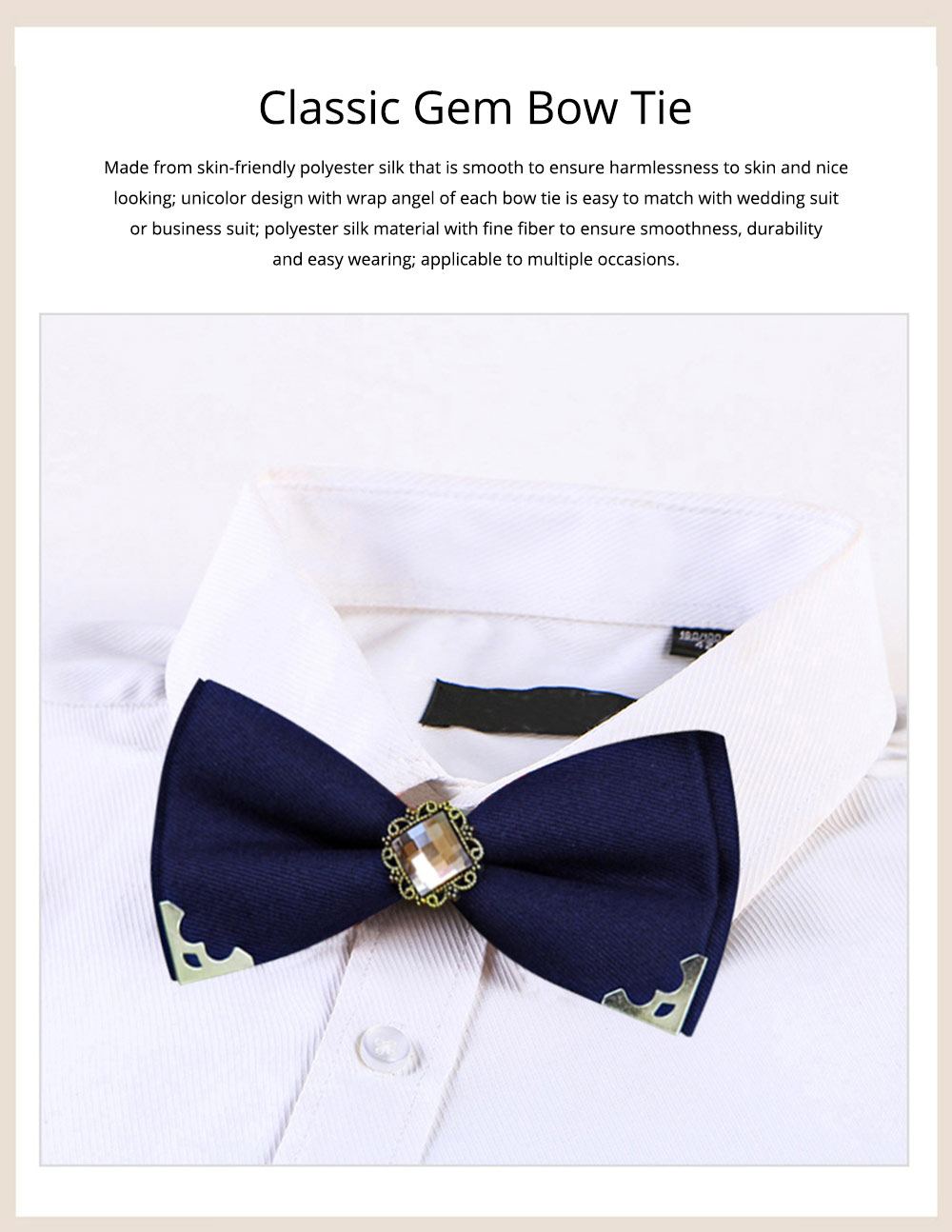 Korean Style Bow Tie for Male Fashionable Man-used Wrap Angle Bow Tie for Bridegroom Groomsman Classic Gem Bow Tie 0