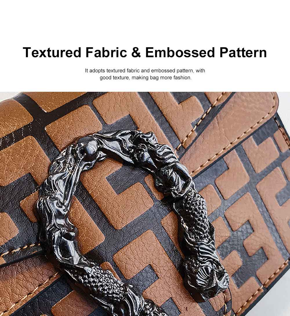 Embossed Pattern Shoulder Bag, Diagonal Bag for Female, with Textured Fabric and Embossed Pattern 2019 2