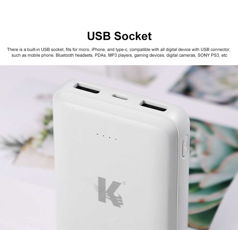 Exquisite Mini Black White Pocket External Battery Fireproof ABS Charger USB Power Bank for Cell Phone 10000mAh 3