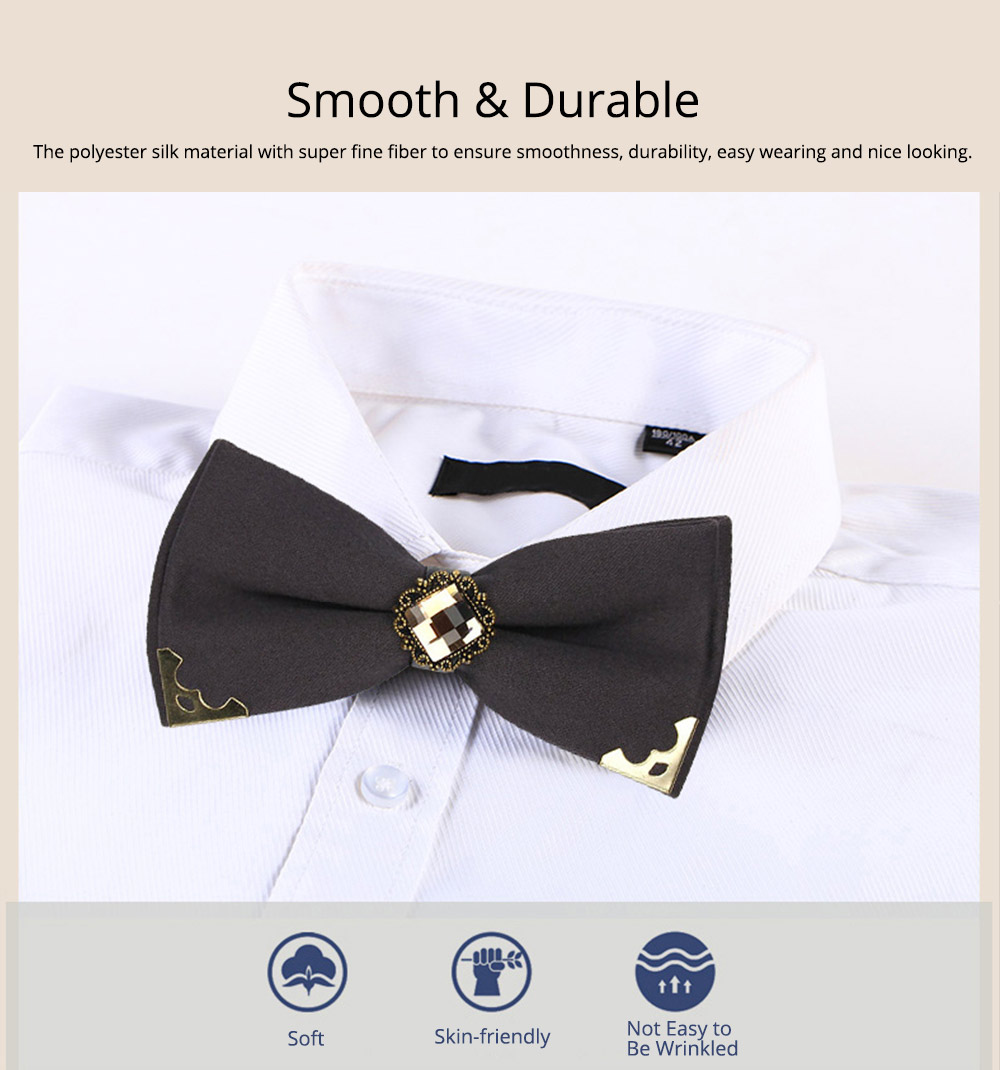 Korean Style Bow Tie for Male Fashionable Man-used Wrap Angle Bow Tie for Bridegroom Groomsman Classic Gem Bow Tie 3