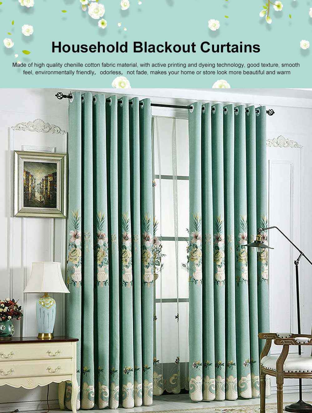 Modern Minimalist Curtains, Household Blackout Curtains for Living Room, Bedroom Chenille Floor Window Curtains 0