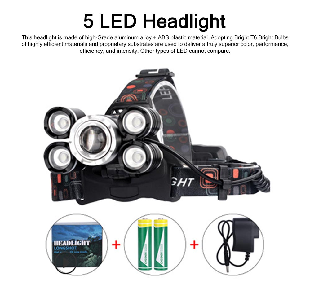 LED Lithium Battery T6 Headlights USB Charging Waterproof Lighting Zoom 5 LED Headlights For Night Ride Fishing 0