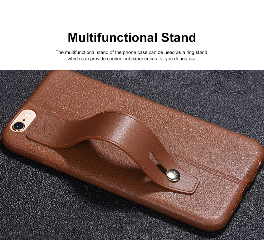Imitation Leather TPU Phone Case, Soft Case Cover with Multifunctional Stand, Total Binding Business Phone Case for iPhone 3