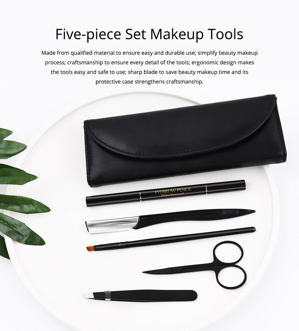 Eyebrow Trimming Set for Both Lady and Gentleman Eyebrow Pencil Eyebrow Tweezer Complete 5-piece Set for Beauty Makeup Tools Beginner Eyebrow Trimmer 0