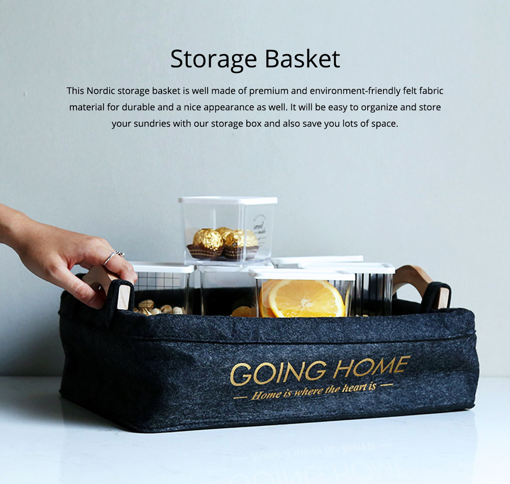Fabrics Storage Basket Multifunctional Cute Nordic Felt Table Organizer With Wooden Handle for Sundries, stationery and Clothes 0