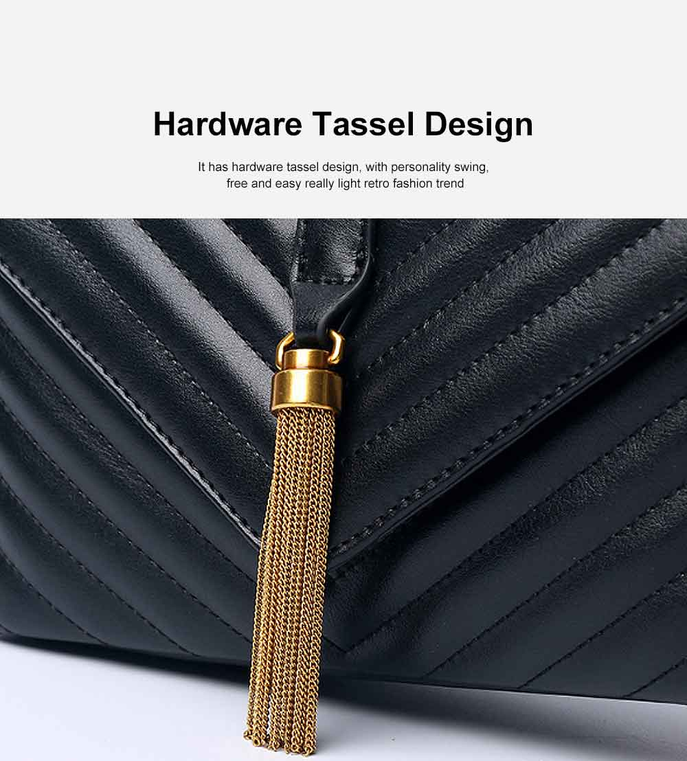 First Layer of Cowhide Handbag, Fashion Tassel V Ringer Bag for Female, with Retro Semicircle Handle 3