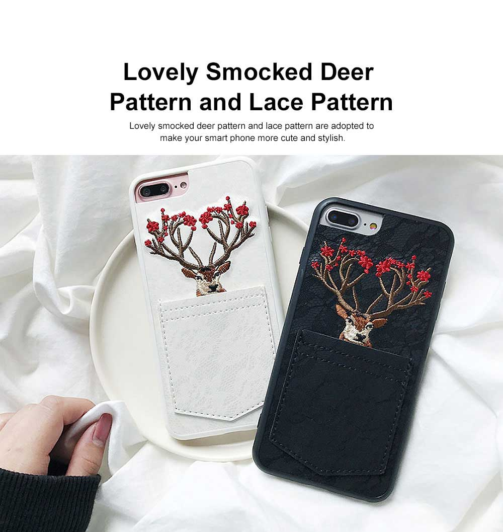 Lovely Deer Phone Case for iPhone, Cartoon Lace Pattern Case Cover, Embroidery, Smocked Case Cover with Leather Pocket Decoration 1