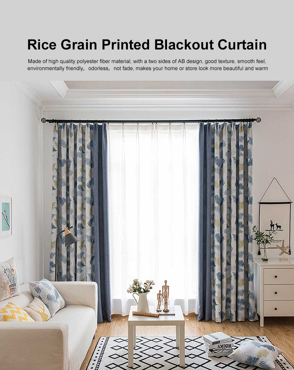 Rice Grain Printed Blackout Curtain, Nordic Wind Stitching Curtains for Living Room, Bedroom, High Quality Cloth Curtains 0