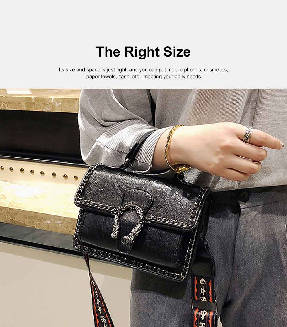 Retro Ladies Small Square Bag, Wild Wide Shoulder Bag, with Simple and Comfortable Portable Design 2