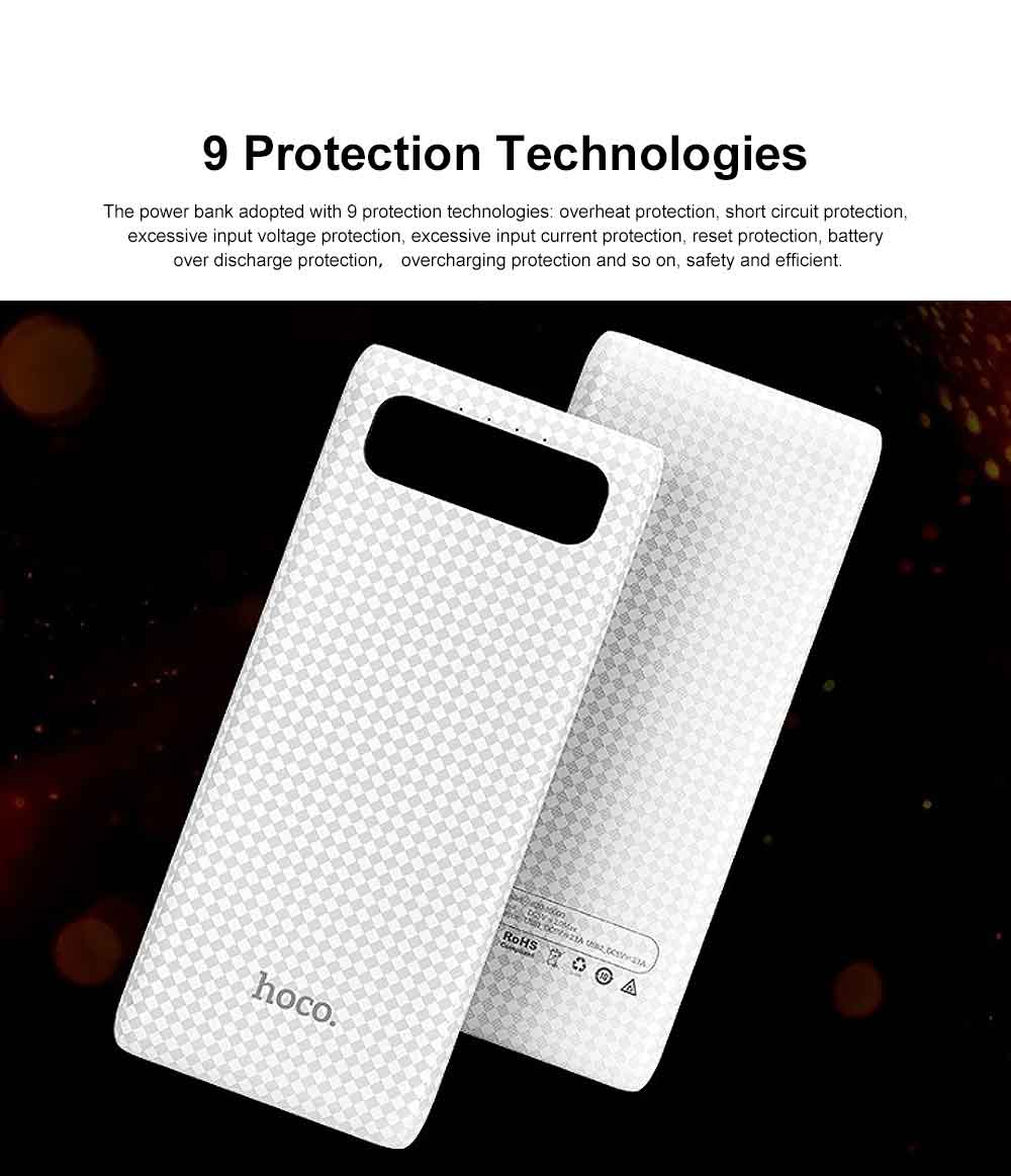 Exquisite Mini Pocket Carbon Fiber Plaids External Battery Fireproof ABS Charger Dual USB Power Bank for Cell Phone 10000mAh with LED Lamp 5