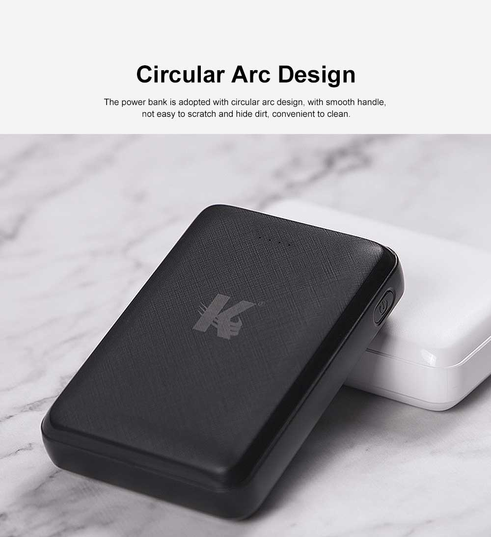 Exquisite Mini Black White Pocket External Battery Fireproof ABS Charger USB Power Bank for Cell Phone 10000mAh 2