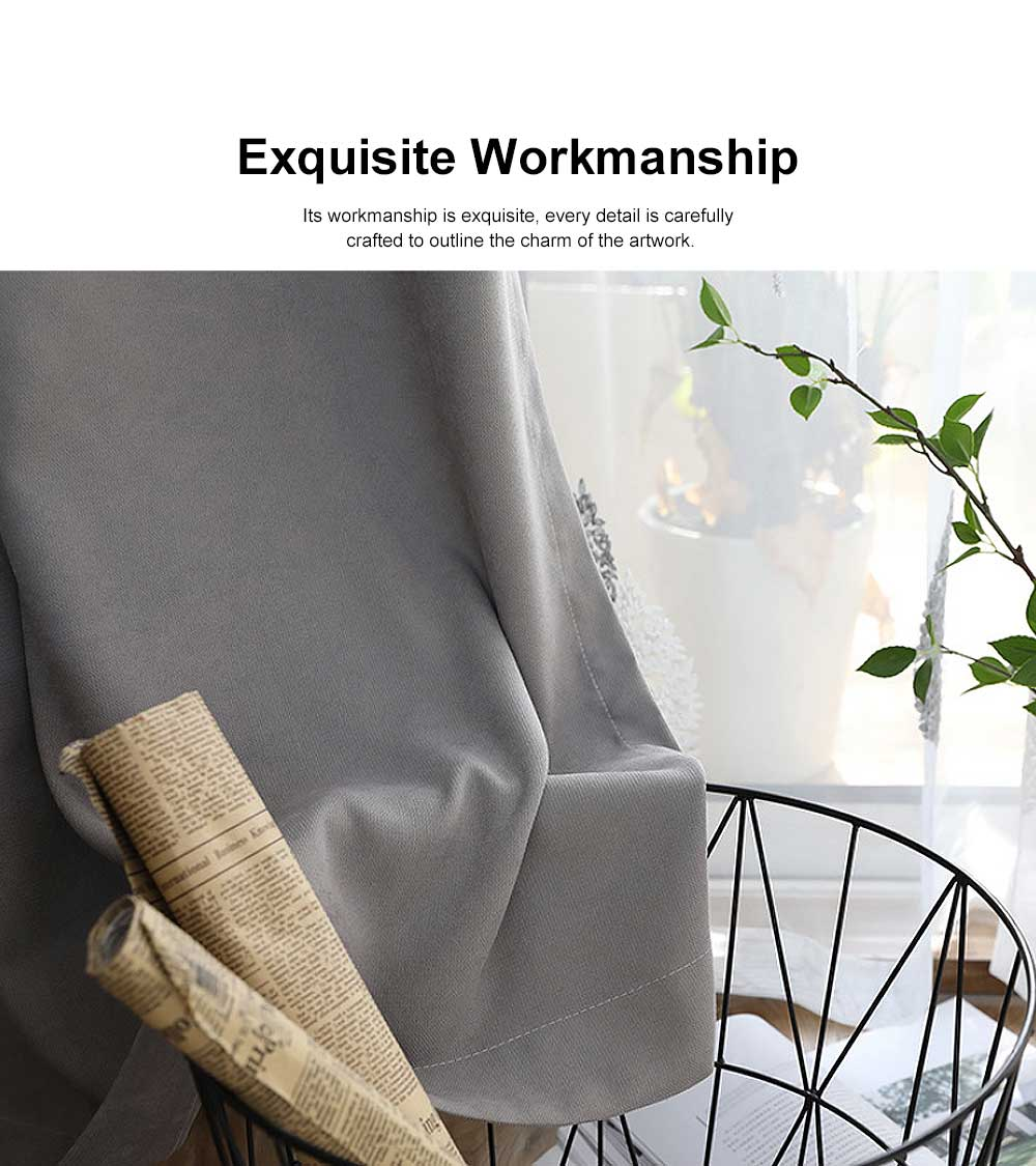 5 Color Nordic Style Curtain, Solid Color Curtains for Living Room Bedroom, Modern Minimalist Blackout Curtain 3