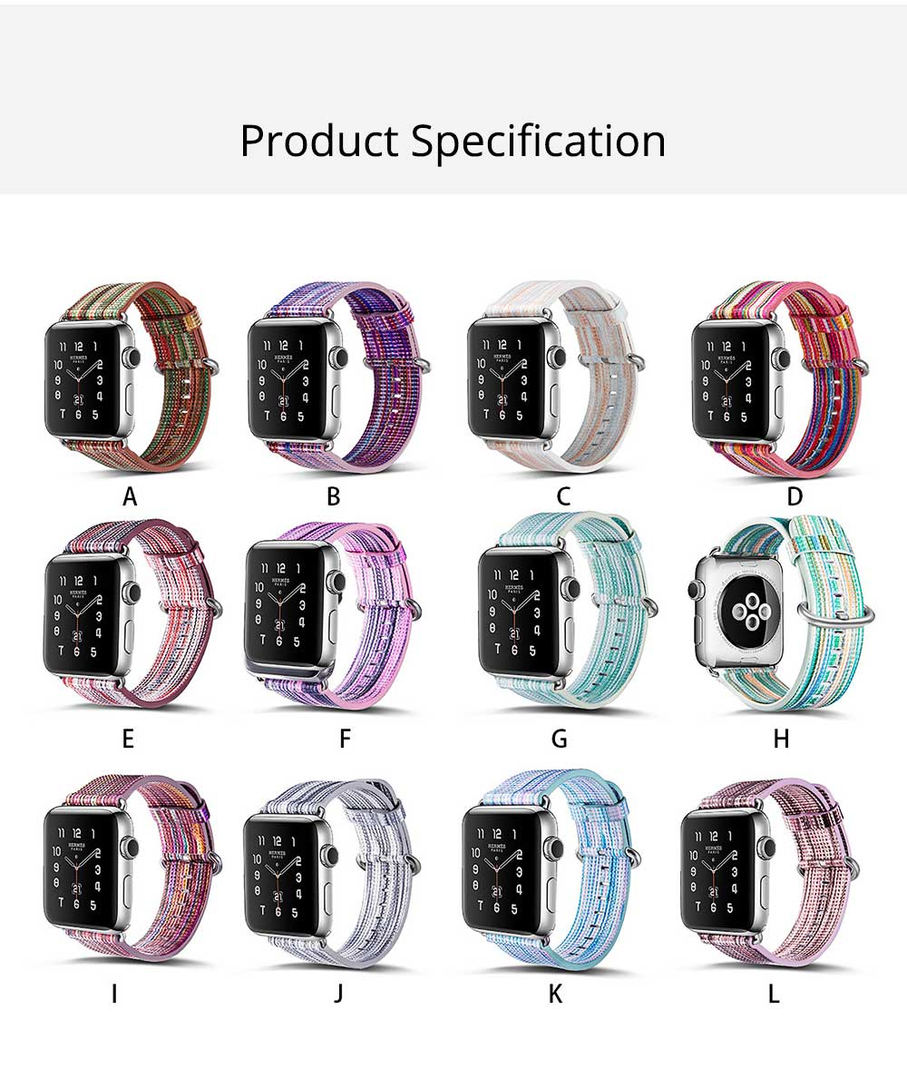 Rainbow Color Watch Band for Apple Watch New Style Colorful Short Watch Strap 38mm/42mm for Both Men and Women 6