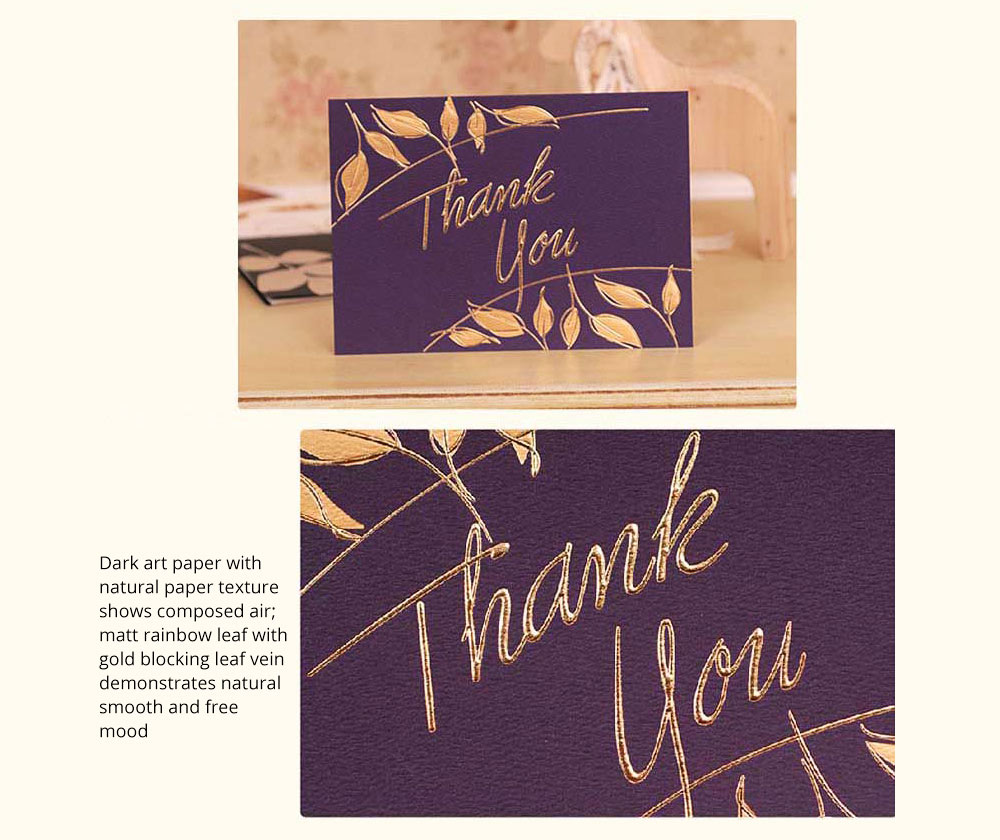 Thank-you Card for Business Purpose Birthday Card Christmas Card Retro Style New Year Card High Art Gold Blocking Thank-you Card 7