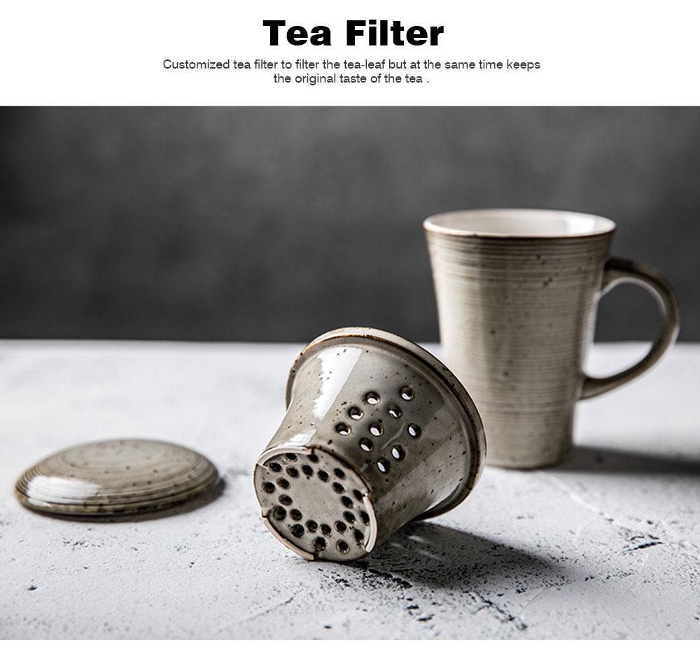 Ceramic Mug Cup with Filter Steepe Ideal for Office, Home, Glazed Mug Cup with Lid for Tea, Coffee, Porcelain Water Mug Cup 330ml 3