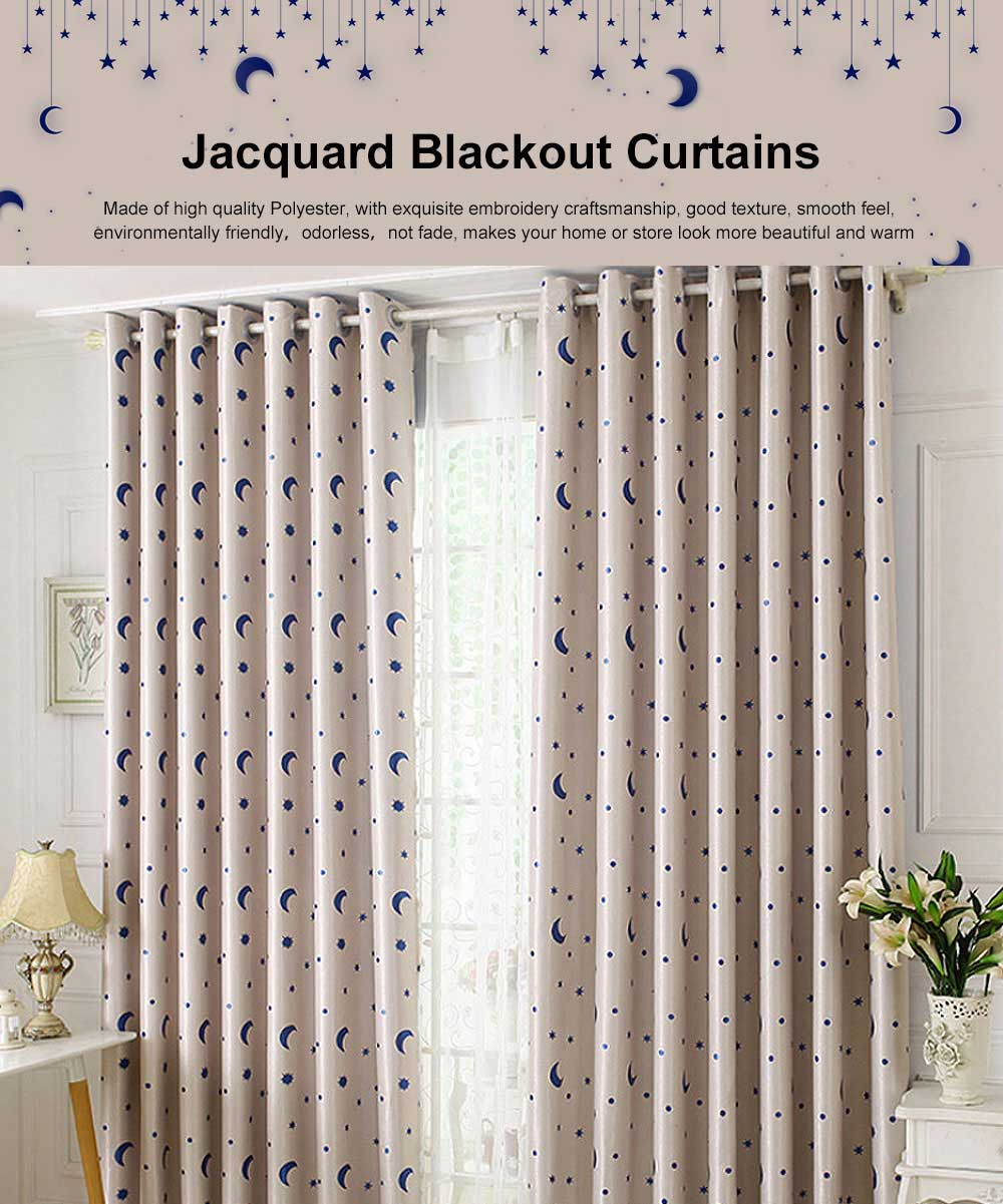 Jacquard Blackout Curtains, Practical Curtains for Bedroom, Living Room, Xingyue Cationic Fabric Curtains 0