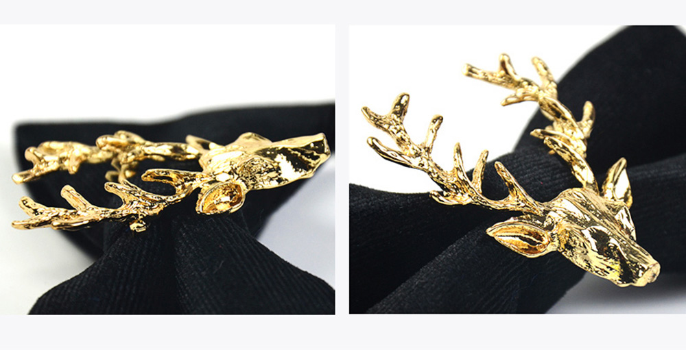 Bow Tie of Double Layer for Wedding Deer Head Decorative Accessory Bow Tie Fashionable British Style Elviro Tie Bridegroom Groomsman Used Bow Time 5
