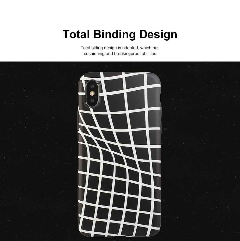 Creative Lines Mobile Phone Case, Grid Sanded Case Cover for iPhone, Luxury Soft Thin TPU Case, Minimalist Style 1