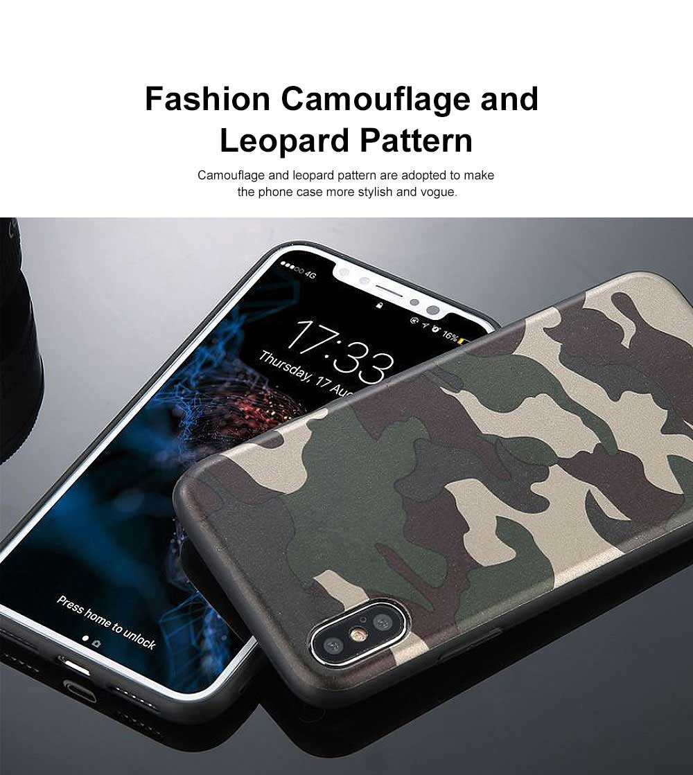 Camouflage Phone Case, Leopard Print Case Cover, Smooth TPU Phone Case, Luxury Ultra Thin Case Cover for iPhone 1