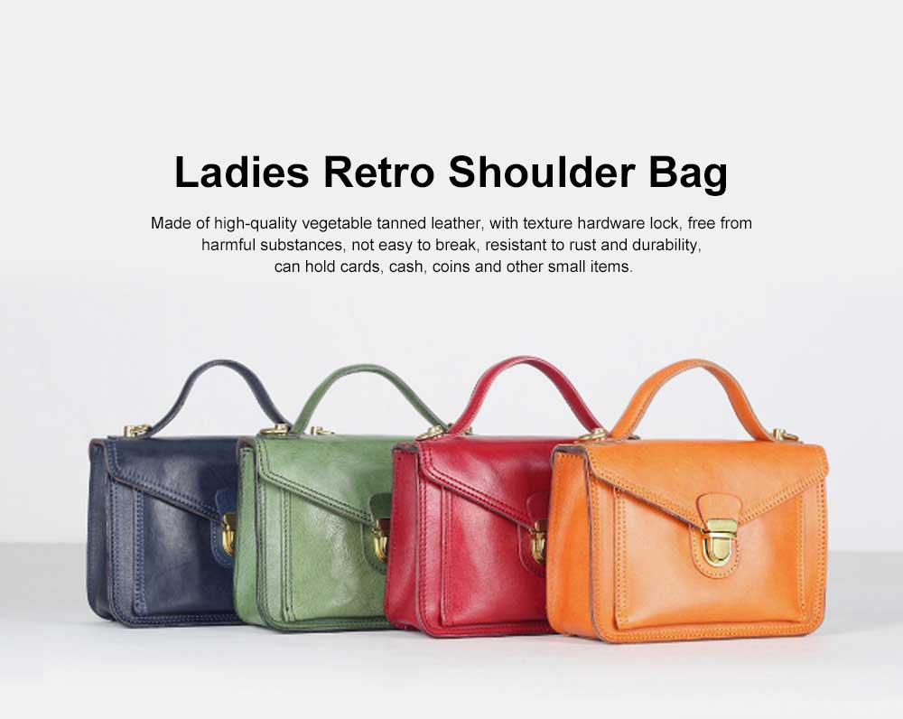 Ladies Retro Shoulder Bag, Vegetable Tanned Leather Diagonal Small Square Bag, with Texture Hardware Lock 0