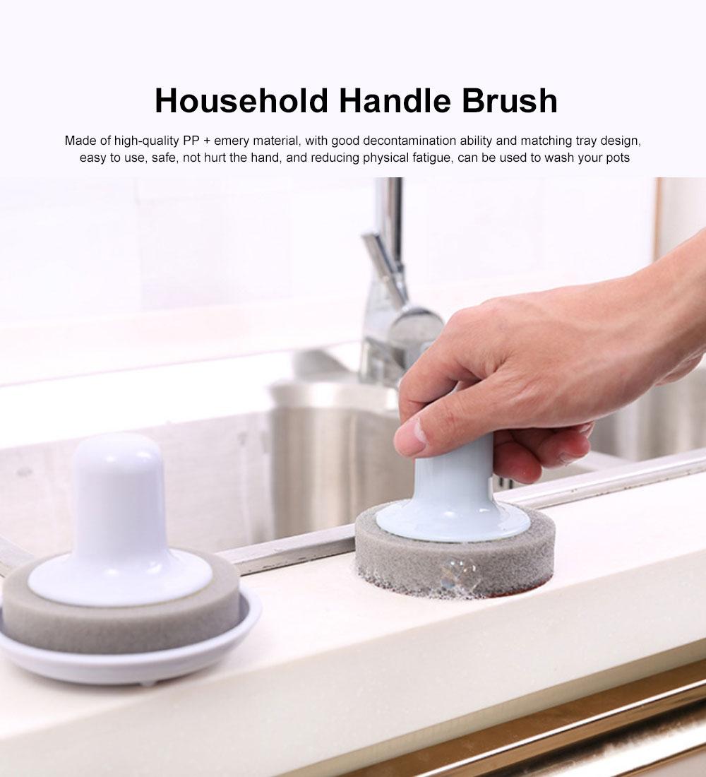 Household Handle Brush, Practical Brush For Washing Bowl, Pot, Household Emery Sponge Scrubbing Brush 0
