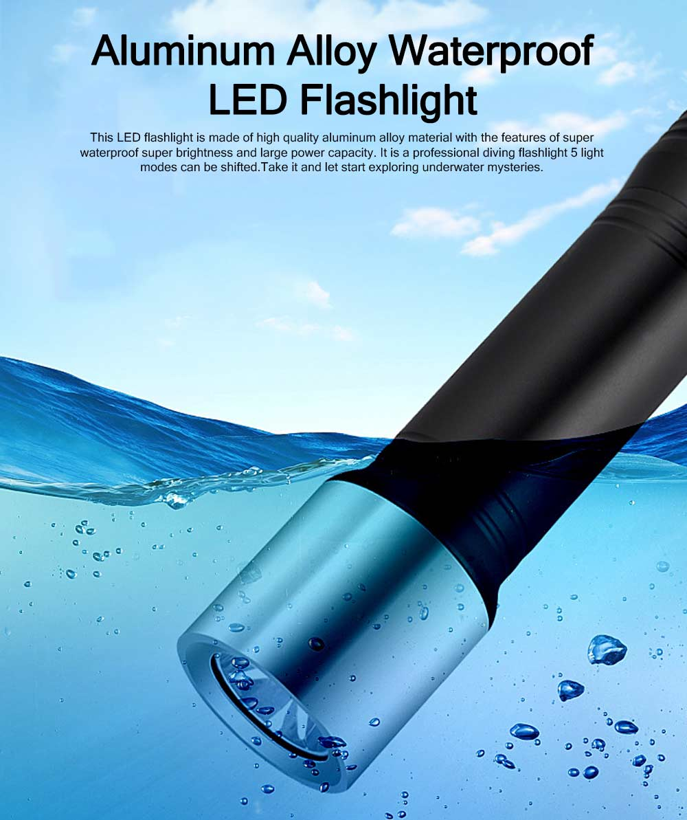 Aluminum Alloy Waterproof LED Diving Lighting Flashlight 18650 Lithium Battery Charging 7th Battery T6 Diving Flashlight IPX7 0