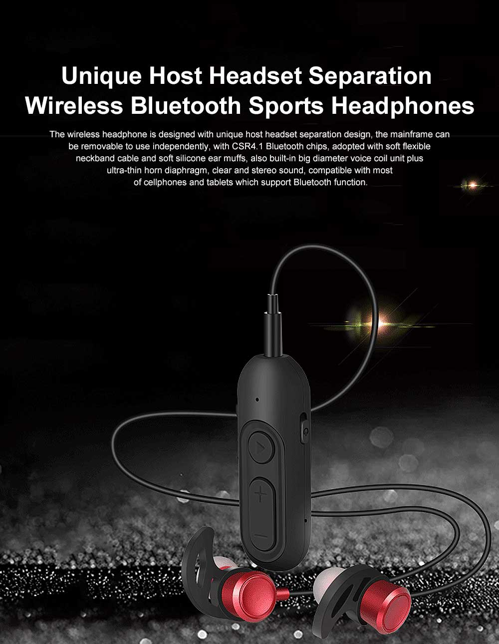 Unique Host Headset Separation Wireless CSR4.1 Bluetooth Earphone Headphones In-ear Neckband Headset Sports Supplies For iPhone Samsung 0