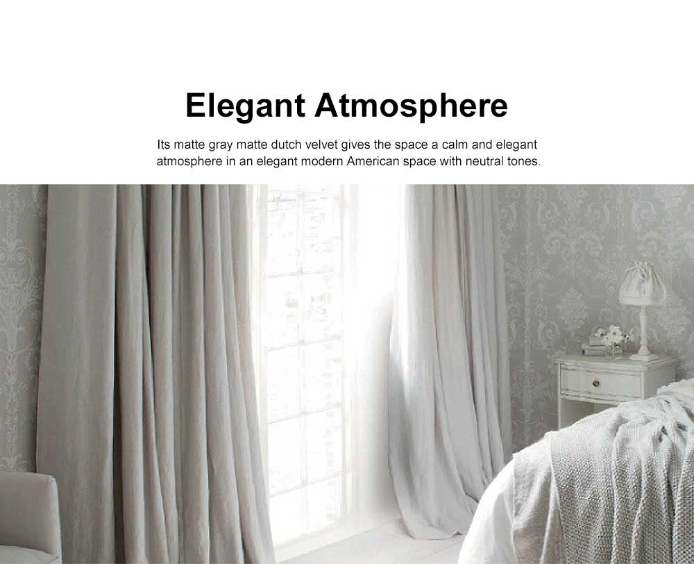 Modern Retro American Style Grey Curtains, Blackout Curtains for Bedroom Living Room, Light Luxury Velvet Curtains 1
