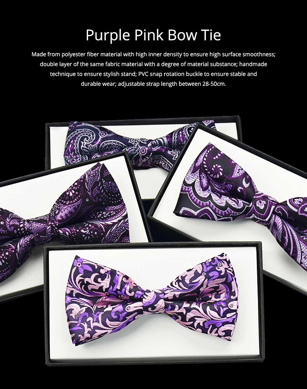 Bow Tie for Wedding Business Suit Fashionable British Style Elviro Tie Bridegroom Groomsman Used Bow Tie Purple Pink Tie European Pattern Design Tie 0