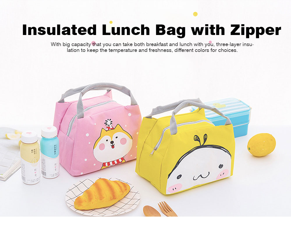 Cartoon Insulated Lunch Bag with Zipper, Small Size Cooler Bag Lunch Container for Outdoor Activities, School, Students, Children, Waterproof Lunch Tote Bag 0