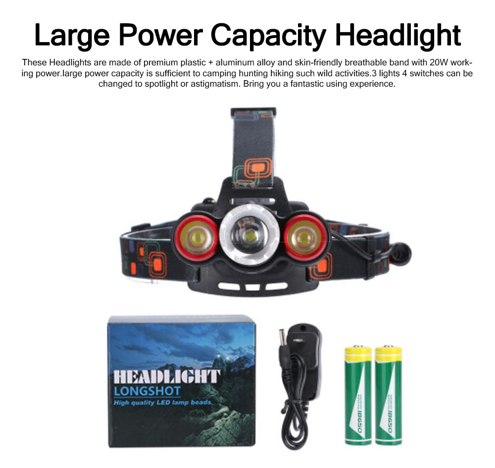 Long Lasting Zoom Headlight 3 LED Outdoor Strong Light Glare Lighting 3 Ports Charging Headlights T6 0