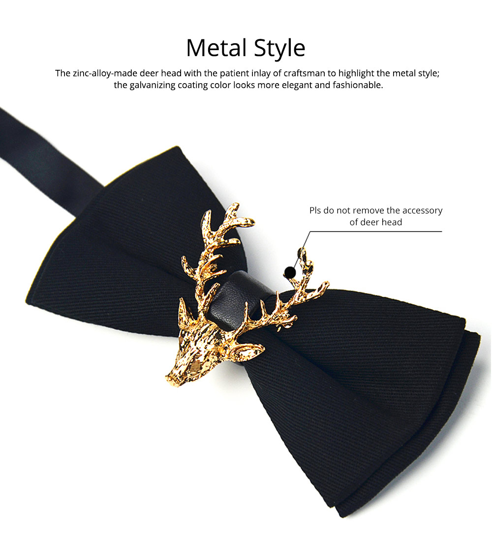 Bow Tie of Double Layer for Wedding Deer Head Decorative Accessory Bow Tie Fashionable British Style Elviro Tie Bridegroom Groomsman Used Bow Time 2