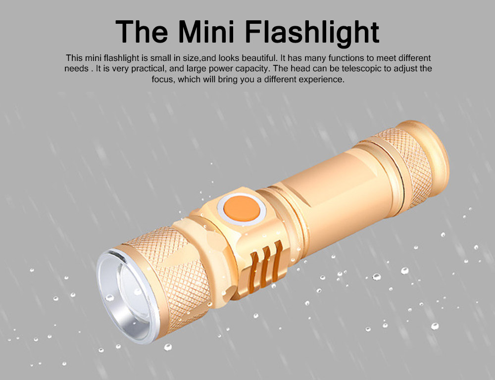 Outdoor LED Glare Lighting Mini Flashlight Night Riding Bicycle Light USB Charging T6 Waterproof Flashlight For Gift 0