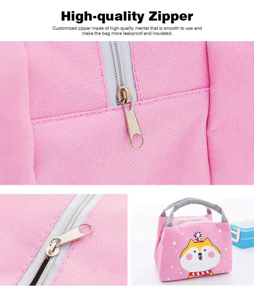 Cartoon Insulated Lunch Bag with Zipper, Small Size Cooler Bag Lunch Container for Outdoor Activities, School, Students, Children, Waterproof Lunch Tote Bag 4